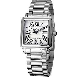 CLOIE 相愛在羅馬 時尚方型女錶-銀x白/28mm