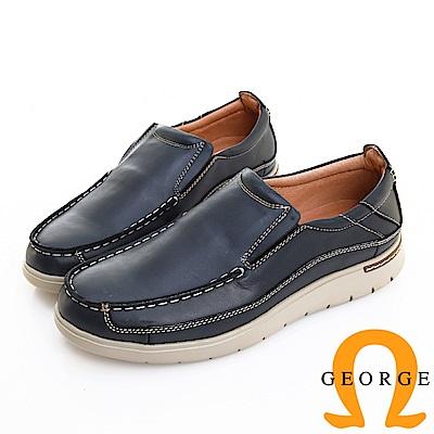 GEORGE 喬治皮鞋 輕量系列 素面真皮懶人休閒鞋 -藍色