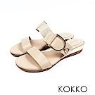 KOKKO - 極度舒適軟墊牛皮楔型涼拖鞋 - 王妃米