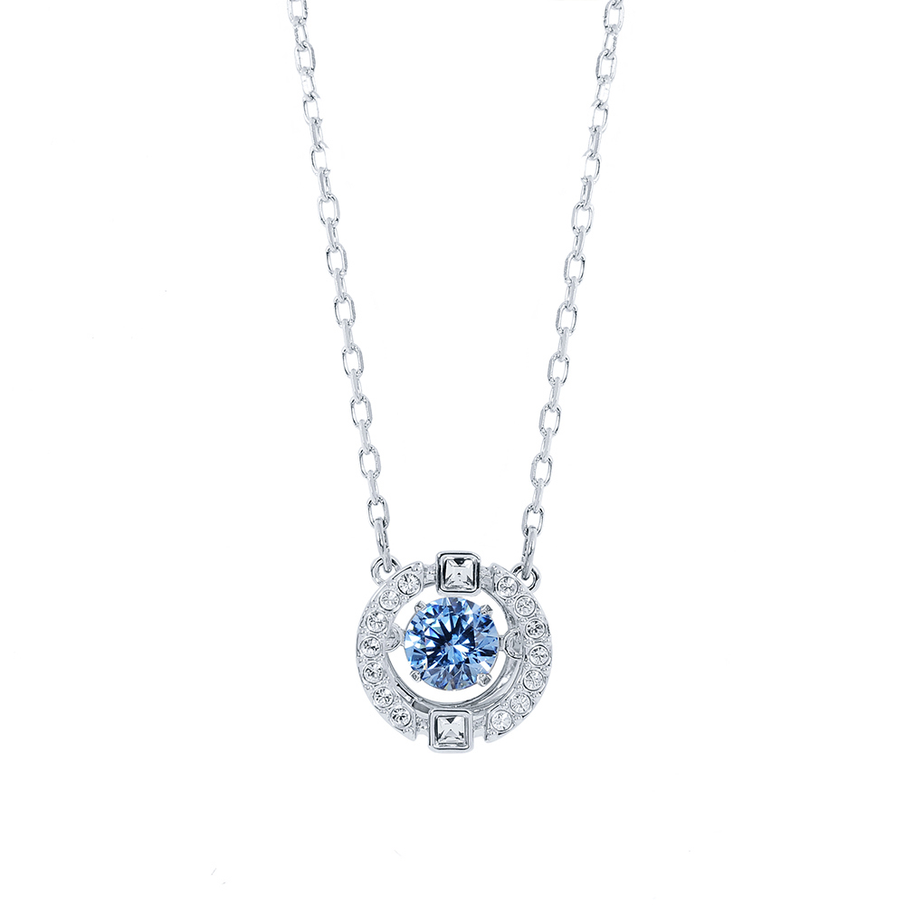SWAROVSKI 施華洛世奇 圓形鏤空造型藍水晶銀色項鍊