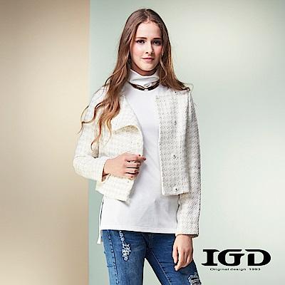 IGD英格麗 小香風千鳥紋毛呢短版羊毛外套-白色