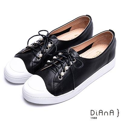 DIANA-漫步雲端焦糖美人款-珍珠綴飾綁帶休閒鞋-黑