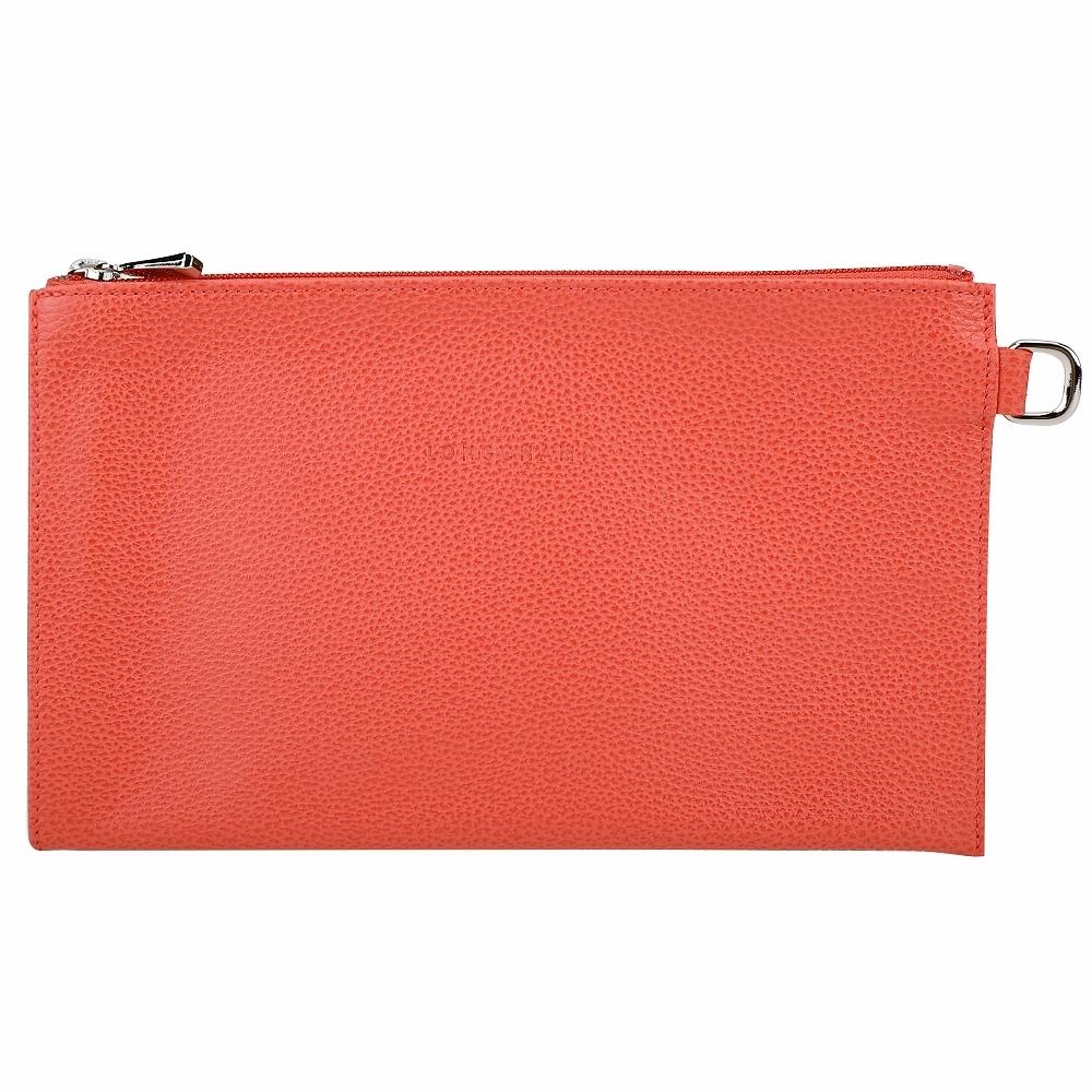 LONGCHAMP Le Foulonne 荔紋牛皮隨身拉鍊手拿包(橘紅色)