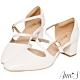 Ann'S修圖效果-顯瘦腳背斜帶沙發後跟粗跟方頭鞋-白 product thumbnail 1