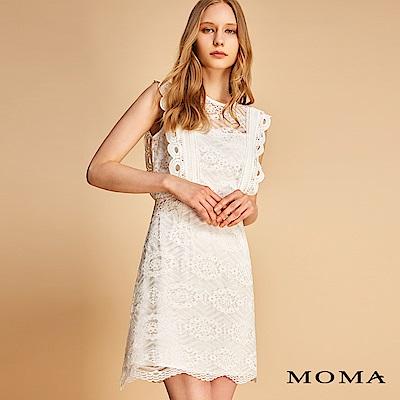 MOMA 高腰車骨蕾絲花邊洋裝