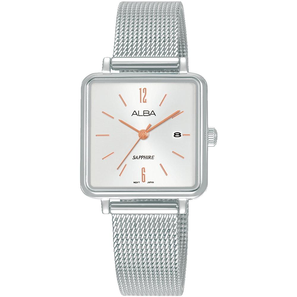 ALBA雅柏 典雅方形米蘭時尚手錶(AH7V09X1)-銀/26mm