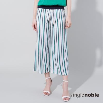 獨身貴族 色彩節奏綁帶條紋寬褲(2色)