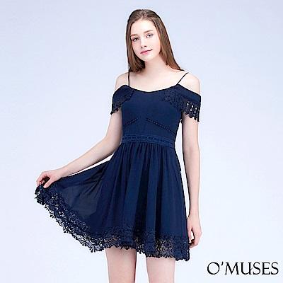 細肩帶蕾絲雪紡洋裝-OMUSES