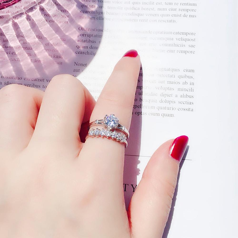 梨花HANA 韓國美麗牽掛雙層鑽飾戒指