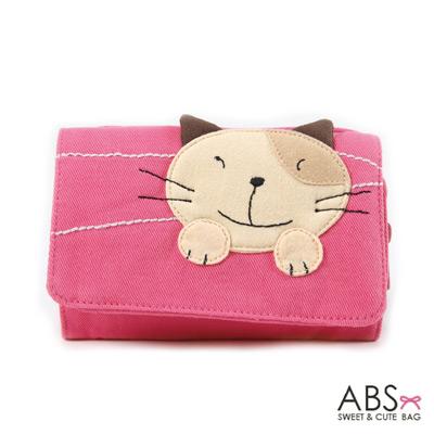 ABS貝斯貓 Simple Style複合式拼布零錢短夾(櫻花粉)88-031