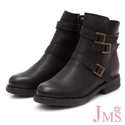 JMS-酷感帥氣造型三側扣厚底短靴-黑色