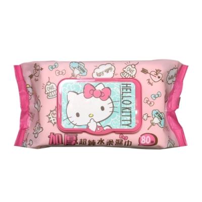 Hello Kitty 凱蒂貓加厚超純水有蓋柔濕巾/濕紙巾 (加蓋) 80 抽 X 24 包(箱購) 特選加厚縲縈水針布 超溫和配方無添加劑