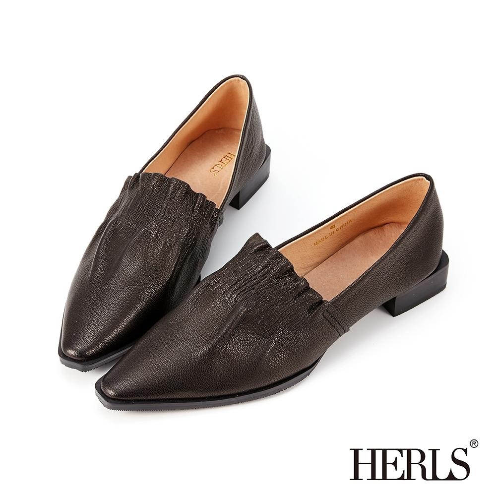 HERLS樂福鞋-全真皮時髦立體抓皺尖頭樂福鞋-黑色