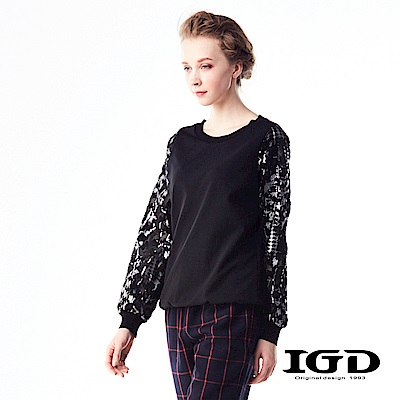 IGD英格麗 天絲棉千鳥格紋拼接迷彩上衣-黑色