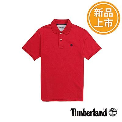 Timberland 男款紅色棉質刺繡短袖POLO衫