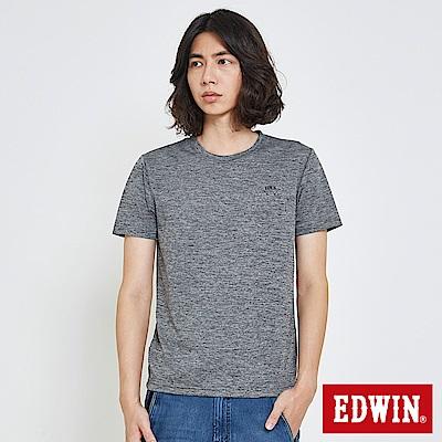EDWIN 涼感圓領LOGO印花T恤-男-黑灰
