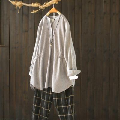 千鳥格隱形半開襟小立領鬆緊收腰格子襯衫-設計所在