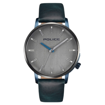 POLICE 率性時尚皮革手錶-鐵灰/42mm