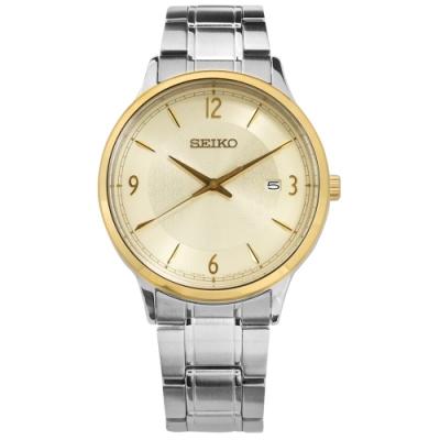 SEIKO 精工 50週年紀念款 礦石強化玻璃 日期視窗 不鏽鋼手錶-金色/41mm