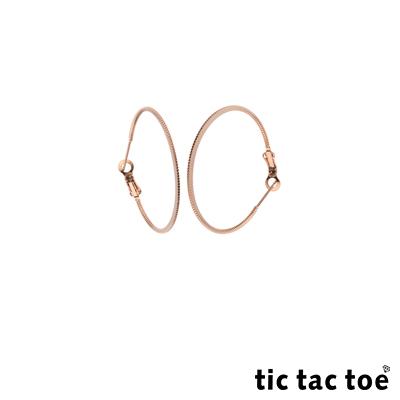 tic tac toe 漸進 白鋼圓形耳扣耳環 3cm 玫瑰金色