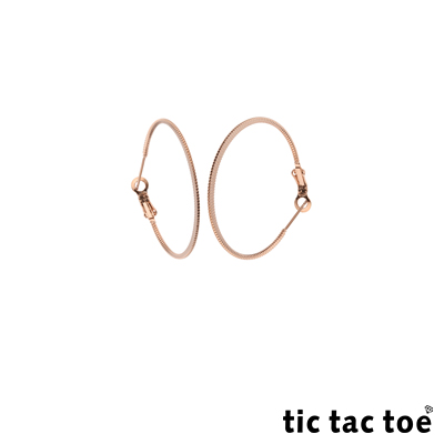 tic tac toe 漸進 白鋼圓形耳扣耳環 4cm 玫瑰金色