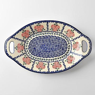 【波蘭陶 Vena】 漫野薔薇系列 雙耳長形深餐盤 32.5cm 波蘭手工製