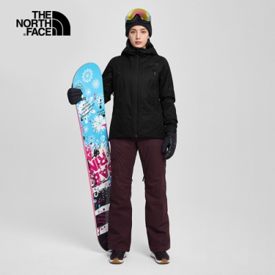 The North Face北面女款深紫色防水透氣雪褲|3M566X5