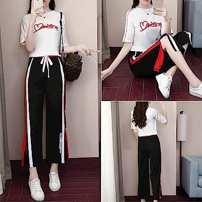 DABI 韓系休閒字母運動高腰寬口褲套裝短袖褲裝