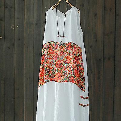 碎花盤扣亞麻印花背心裙中長版棉麻洋裝-設計所在