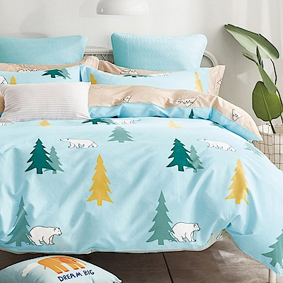 La Lune 100%40支寬幅台灣製精梳純棉雙人加大床包枕套三件組 森林裡的北極熊