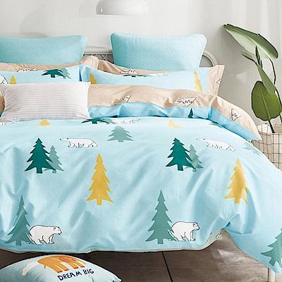 La Lune 100%40支寬幅台灣製精梳純棉雙人床包枕套三件組 森林裡的北極熊