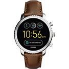 Fossil Q Explorist 系列觸控智能手錶-銀框x咖啡/44mm