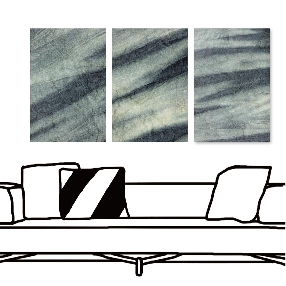 24mama掛畫 三聯式 藝術抽象 時鐘掛畫 無框畫 40x60cm-渲染石紋