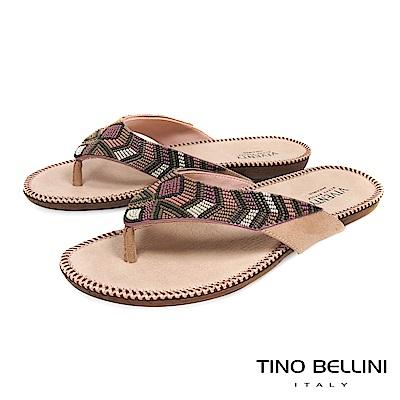 Tino Bellini 巴西進口民族風情繽紛珠飾夾腳涼拖鞋 _ 粉
