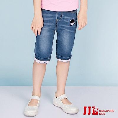 JJLKIDS 可愛反摺造型牛仔五分褲(牛仔藍)