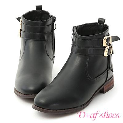 D+AF 率真氣息.雙金釦皮帶平底短靴*黑