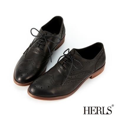 HERLS牛津鞋-全真皮復古翼紋沖孔雕花擦色牛津鞋-黑色