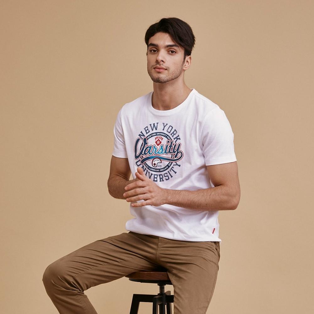 【JOHN HENRY】純棉紐約大學字母印花短袖T恤-三色選