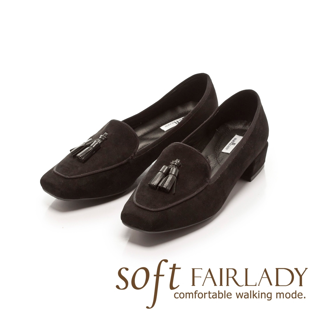 Fair Lady Soft芯太軟 立體流蘇方頭樂福低跟鞋 黑