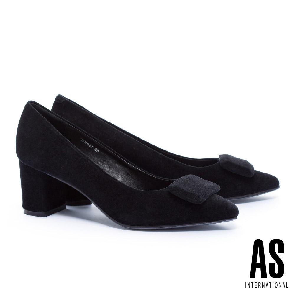 高跟鞋 AS 都會摩登方飾釦全真皮尖頭粗跟高跟鞋-黑