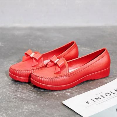 韓國KW美鞋館-復古感小蝴蝶護士鞋-紅色