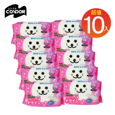 日本山崎 小海豹 地板清潔用抗菌乾拖巾10包組