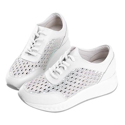 Robinlo & Co.造型縷空碎鑽牛皮休閒鞋 白色 @ Y!購物