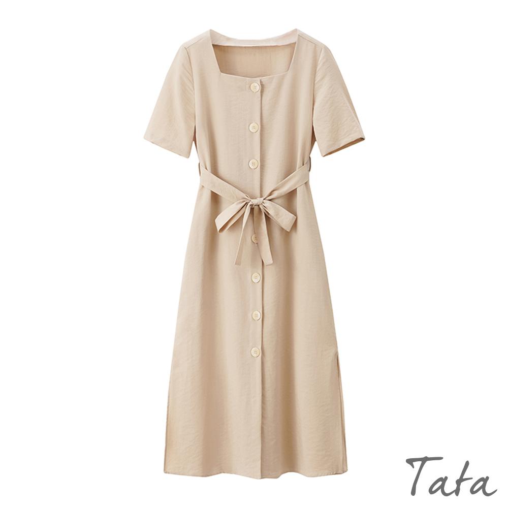 方領排扣綁帶洋裝 共二色 TATA-(S~L)