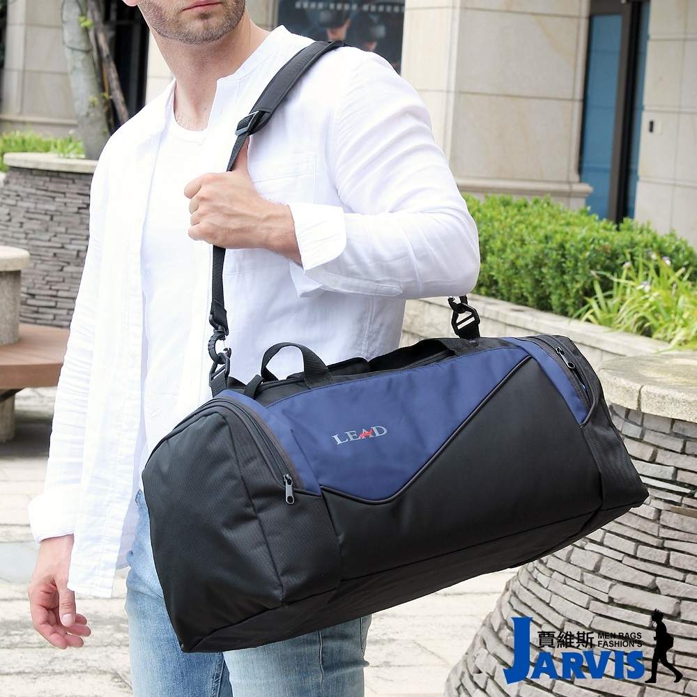Jarvis賈維斯 帥勁 運動提袋/旅行袋-60cm-黑藍
