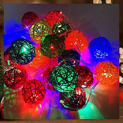 摩達客 20燈LED藤球燈-插電式燈串(四彩光) YS-XLP020023