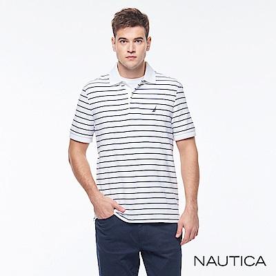 Nautica 經典條紋POLO衫-白色