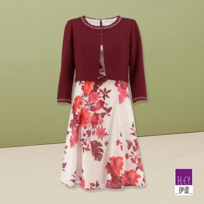 ILEY伊蕾 典雅花朵假兩件七分袖修身洋裝(紅)