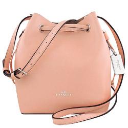 COACH 芭蕾粉色皮革斜背水桶包