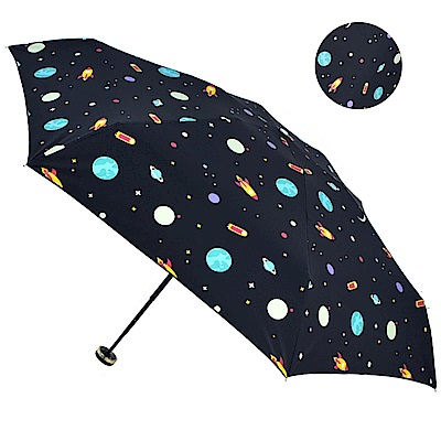 2mm 100%遮光 星幻夜空黑膠降溫五折手開傘 (宇宙)